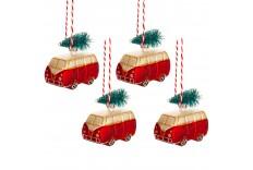 4 Vans avec sapin de Noël